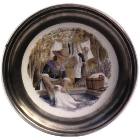 Pewter and faience plate with washerwoman decor