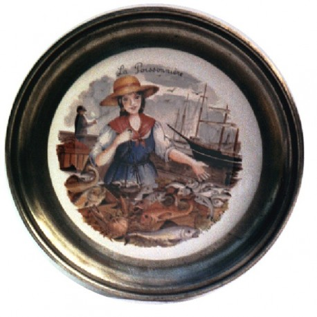 Pewter and faience plate with fish merchant decor