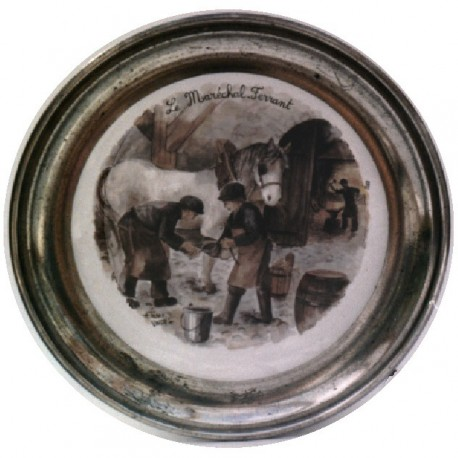 Pewter and faience plate with blacksmith decor