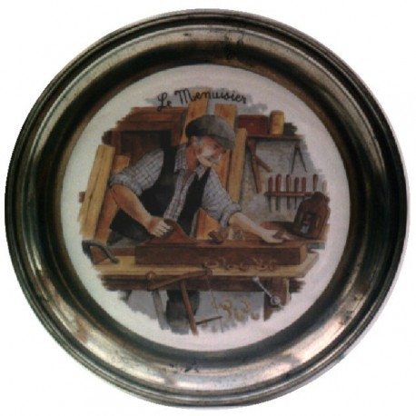 Pewter and faience plate with carpenter decor