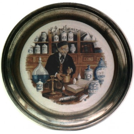 Pewter and faience plate with apothecary decor