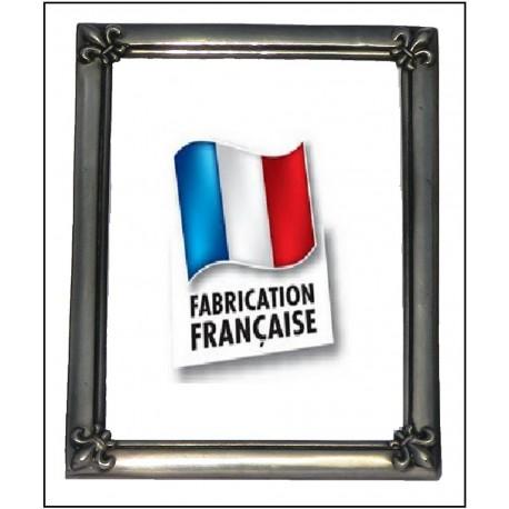 Large pewter photo frame with fleur-de-lis decor