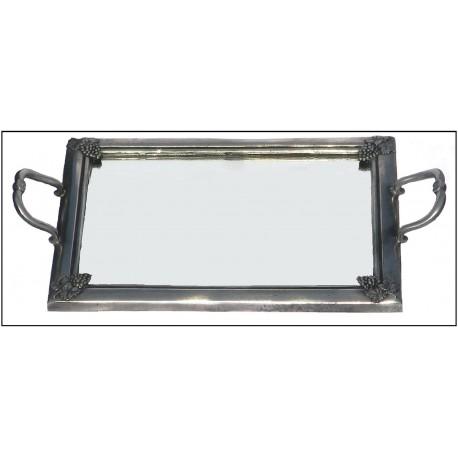 Plateau uni à fond miroir en étain