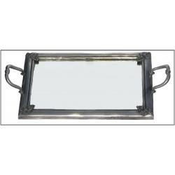 Plateau décor lys à fond miroir en étain 6012L
