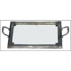 Pewter tray with fleur-de-lis deocr and mirror bottom