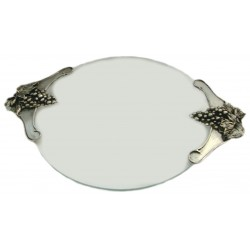 Glass tart plate with pewter grape handles