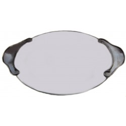 Glass tart plate with pewter plain handles