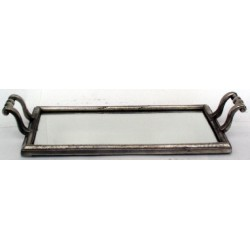 Pewter rectangular tray with mirror bottom