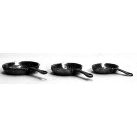 Série de 3 poêles rondes miniatures en étain