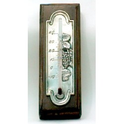 Pewter thermometer witth grape decor and wooden support