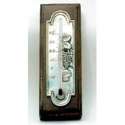 Thermomètre décor raisin en étain avec applique en bois