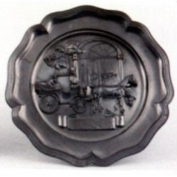 Pewter plate with wedding decor