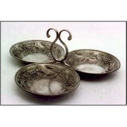 Pewter triple fruit bowl