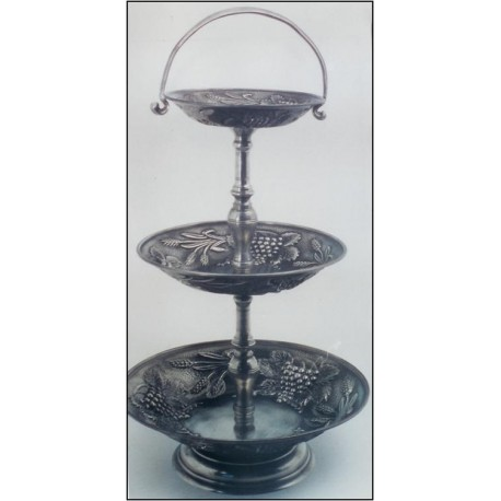 Pewter 3 levels fruit stand with base