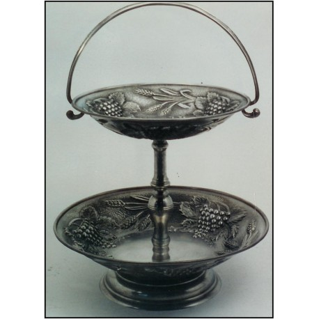 Pewter 2 levels fruit stand with base