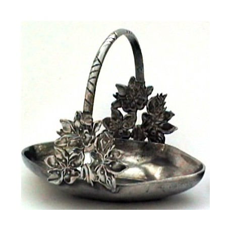 Medium pewter basket with flower decor