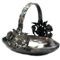 Medium pewter basket with rose decor