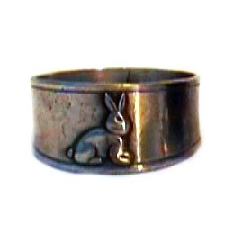 Pewter rabbit napkin ring