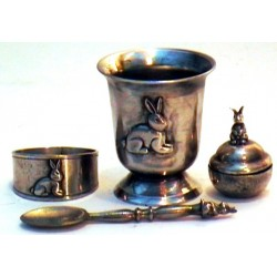 Set of pewter christening products with rabbit decor