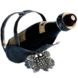 Pewter bottle holder with grape decor
