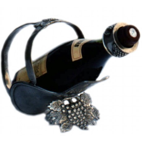 Pewter bottle holder with grape decor