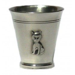 Pewter cat goblet