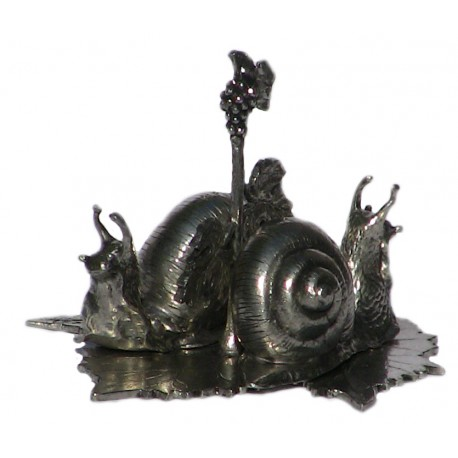 Pewter snail salt and pepper pots