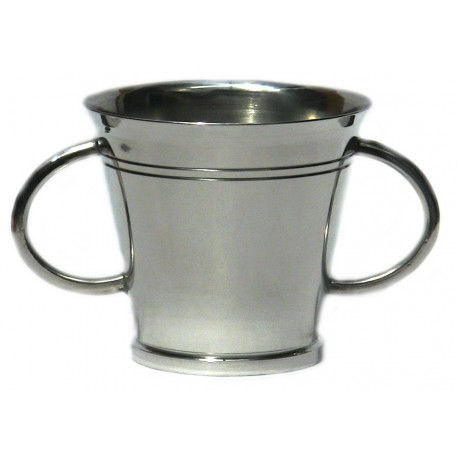 Pewter plain goblet with 2 handles