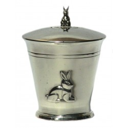 Pewter rabbit money box
