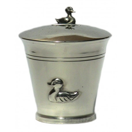 Pewter duck money box
