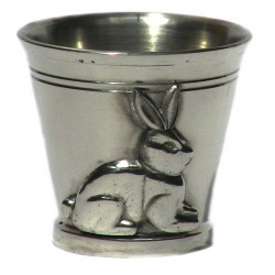Pewter rabbit egg cup