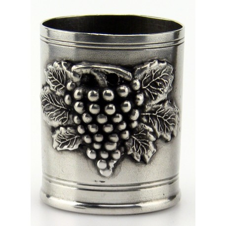 Pewter pencil pot with grape decor