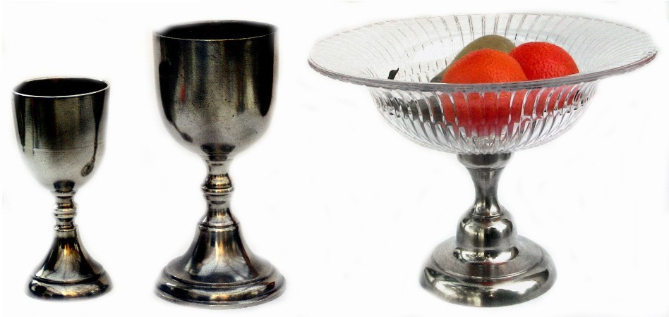 Pewter chalices, cristal fruit bowl with pewter base