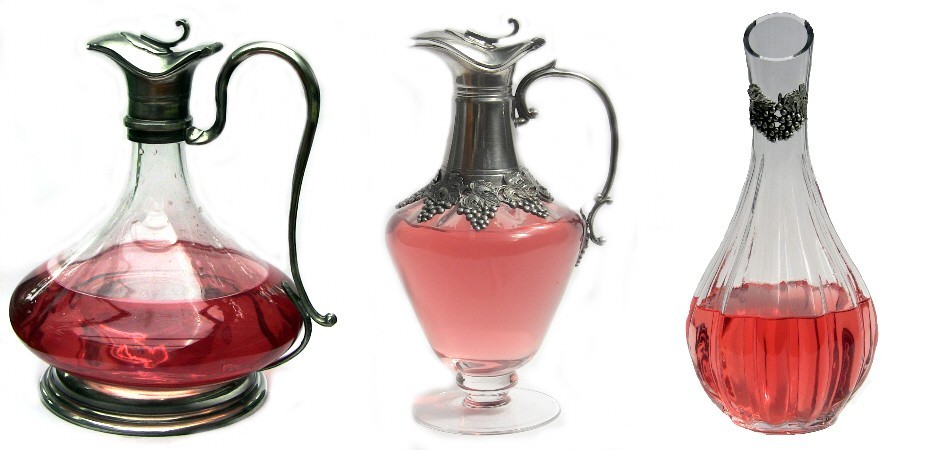 Pewter and glass decanters